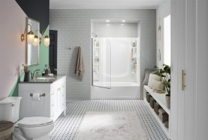white bathroom design | room guide decluttering home